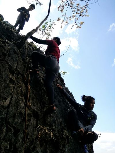 rappeling at the summit Hike Mountain Only Women One Woman Only Adult One Person Adults Only Low Angle View Sky Outdoors Go Higher