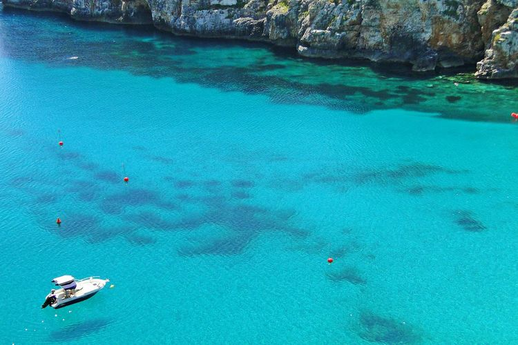 SPAIN Spain♥ Menorca Boats Cala Porter Life Is A Beach Sea Turquoise Summer Summertime Amazing View Blue Sea Summer Views Blue Water Blue