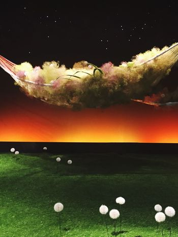Orange Color Tranquility Multi Colored Tranquil Scene Scenics Dramatic Sky Beauty In Nature Nature Outdoors Order Surface Level Sky Cloud - Sky Collage Cloudscape Star Field No People 池坊 生け花 IKEBANA Flower Arrangement Art
