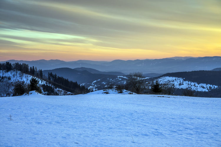landscape Cloudscape Sky Winter Snow Scenics - Nature Sunset Cold Temperature Tranquil Scene Cloud - Sky Tranquility Beauty In Nature Environment Landscape Nature Mountain No People Snowland Snowscape Evening 2019 Blue Orange Color Coloured Dreamland Slovensko