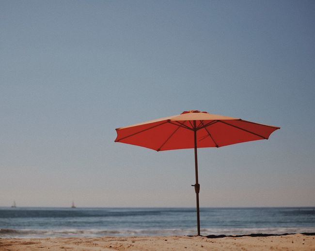 Beach day Santa Monica Beach Santa Monica Water Beach Sea Land Horizon Over Water Protection Umbrella Sky Tranquility Horizon Scenics - Nature Tranquil Scene Beauty In Nature Beach Umbrella Sand No People Parasol Nature EyeEmNewHere Inner Power