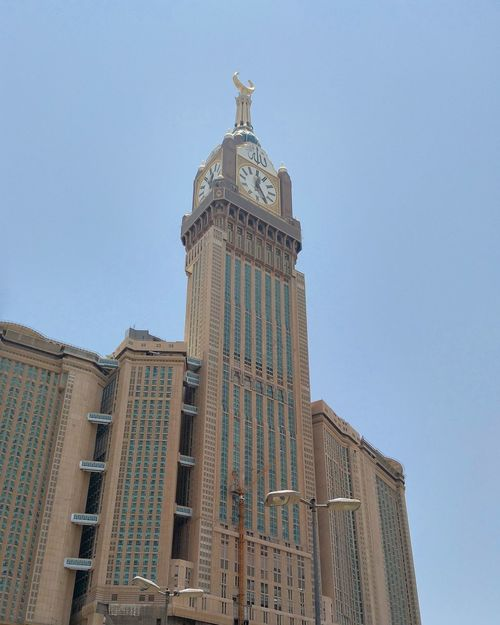 Architecture Travel Destinations Built Structure Building Exterior Low Angle View Day Architectural Column Sky Outdoors No People City Makkah Hot