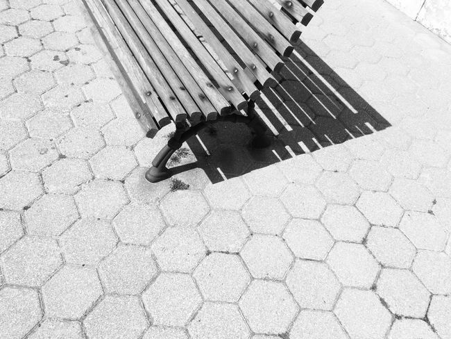2017 Street High Angle View Shadow Outdoors Day Sunlight Footpath No People Close-up Blackandwhite Photography Black And White Photography Black&white Black And White Blackandwhite Bench Burgau Algarve The Week On EyeEm