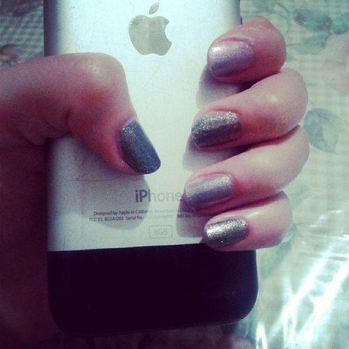 summer nails ?♥ Glitteredsilver Goldglitteredblack :)