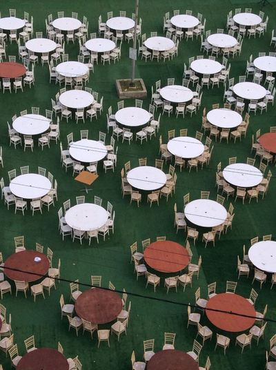 Tables And Chairs Empty Chair Unattended Circles
