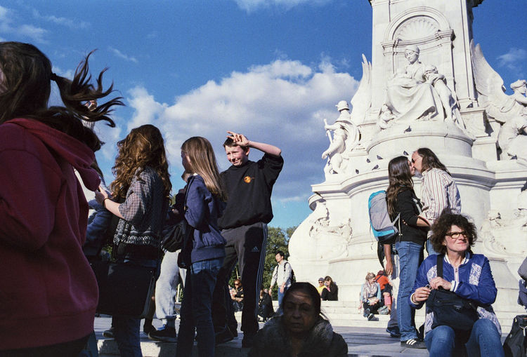 Tourists looking at monument