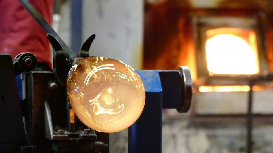 Glass blowing with kiln in the background Lighting Equipment Archival Illuminated Night No People Indoors  Glowing Glass Heat - Temperature Glass - Material Molten Glass Glass Blowing Glass Art