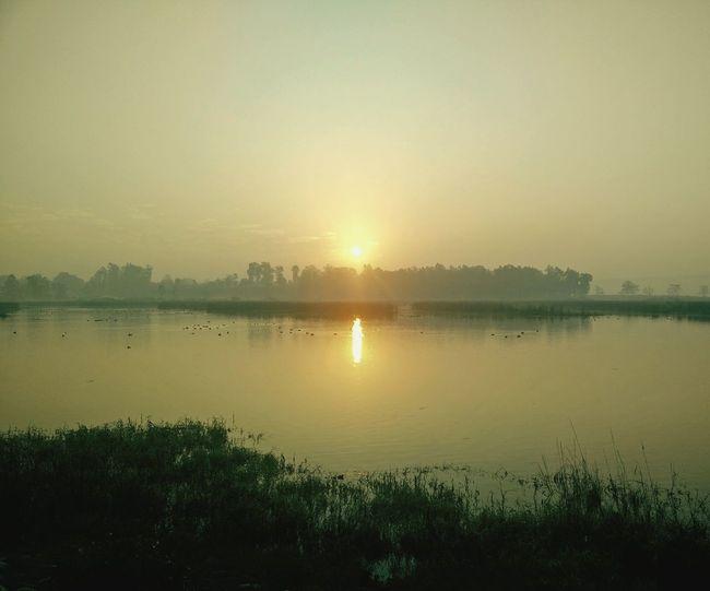 Sun Rise Asan RiverBeautiful Morning Trip To Chandigarh