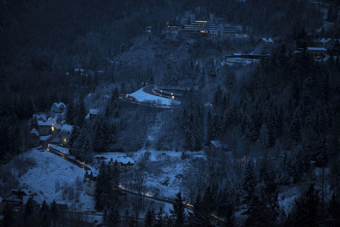 Austria Panorama Winter Cold Temperature High Angle View Illuminated Landscape Montain Road Mountain Mountain Range Night Outdoors Pine Tree Semmering Snow Winter