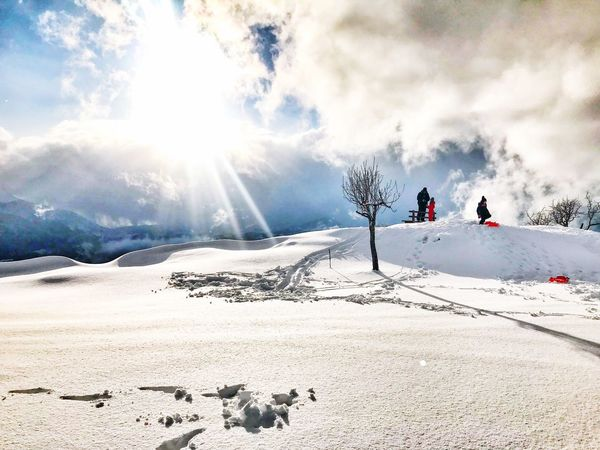 My lovely place!!!! Snow Winter Cold Temperature Sunlight Nature Weather Outdoors Sky Beauty In Nature Scenics Tranquility Day Landscape Real People Sun Cloud - Sky Ski Holiday Mountain Tree Snowboarding Be Brave