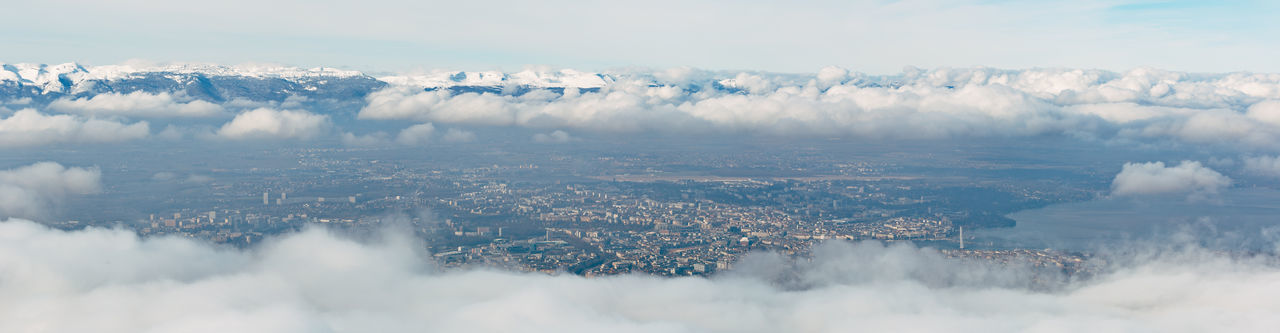 Wide angle aeria view of the canton of Geneva on a foggy winter day. Cloud From Above  Geneva Panoramic Aerial Aerial View Beauty In Nature City Cityscape Cloud - Sky Day Fog Foggy Jura Landscape Mist Mountain Nature Outdoors Sky Switzerland