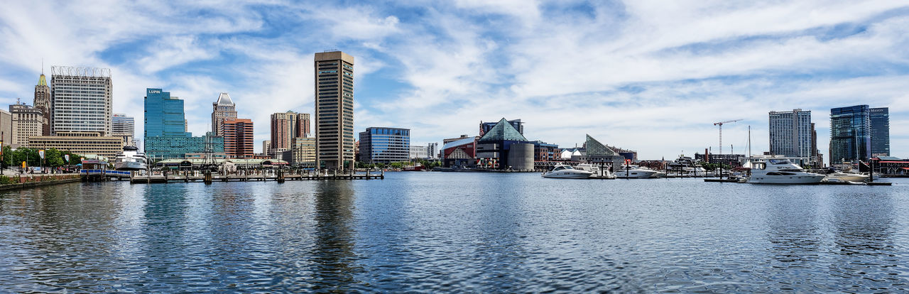 Panorama of Baltimore, Inner Harbor. Panorama Panorama View City Cityscape Urban Skyline Water Modern Skyscraper Illuminated Waterfront Downtown District City Life Office Building Tall - High Standing Water Calm High Rise Skyline Financial District  Settlement