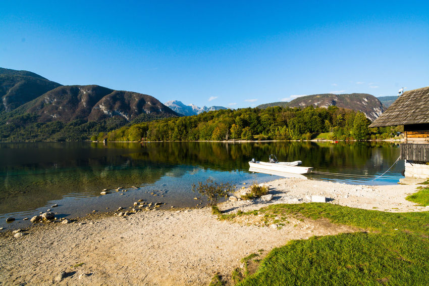Nature Sky Day Bohinjsko Jezero Water Mountain Lake Scenics - Nature Tranquil Scene Tranquility Beauty In Nature Reflection Mountain Range No People Plant Blue Landscape Clear Sky Outdoors Tree