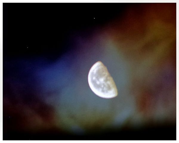 Moon is mine - the little stars are in fact sensor hot pixels of my old camera, I think - finally the second layer, aurora or nebula like, is also mine but it is just a shot of the Tv Screen :) / DIY Lens, Monocular plus ES75 / Astronomy No People Moon Night Sky Fictional Star - Space Space Beauty In Nature / Snapseed Edited Two Layers Double Exposure Hystory Of Universe