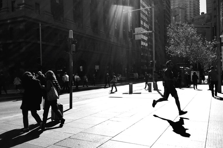 Running Sydney. Sydney Streetphotography Light And Shadow Open Edit Monochrome IPhoneography