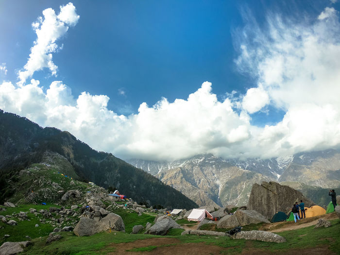 Triund Landscape #triund Mountain Tea Crop Beauty Sky Landscape Cloud - Sky Mountain Range Mountain Ridge Valley Mountain Peak Snowcapped Mountain Majestic Dramatic Landscape Hiking Visiting