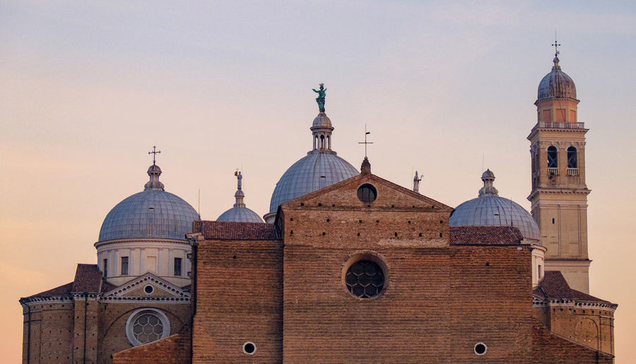 Basilica of saint anthony of padua against clear sky during sunset