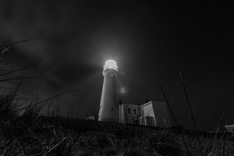 Sky Architecture Night Building Exterior Built Structure Low Angle View No People Building Nature Plant Tower Illuminated Land Field Lighthouse Lighting Equipment Grass Outdoors
