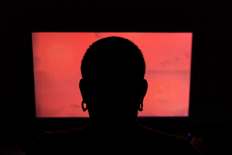 Rear view of silhouette person watching tv at home