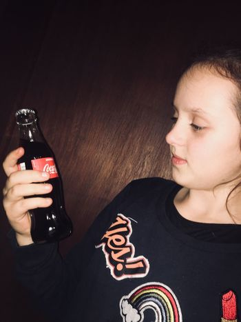 Real People One Person Food And Drink Leisure Activity Drink Lifestyles Childhood Indoors  Boys Close-up Young Adult Day People Cocacola Girl
