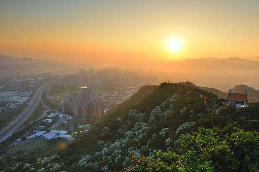 Early morning sun, full of warm hope. Beautiful City Taiwan's New Taipei City Fugueijiao Lighthouse Architecture Beauty In Nature Building Exterior Built Structure City Cityscape Dawn Day Growth High Angle View Morning Fog Nature No People Outdoors Scenics Sky Skyscraper Sunrise Sunset Tree Tung Blossom Warm