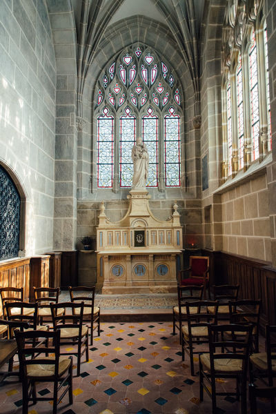 Altar Shrine Chapel Catholic Catholic Church Place Of Worship Calm Serenity Chair Architecture Interior Buiding The Past Religion No People Seat Spirituality Belief Window Built Structure Indoors  Art And Craft Representation Human Representation Statue Building Sculpture Glass Ceiling Virgin Mary