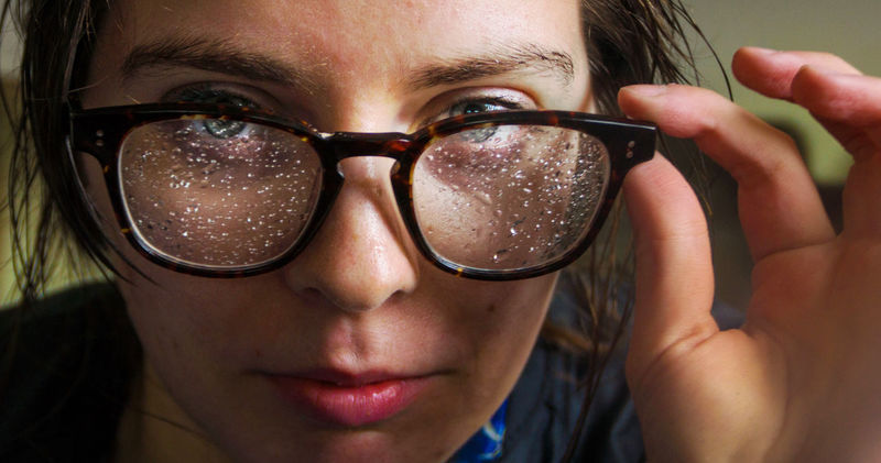 How was the weather like, Amy? Close-up Eyeglasses  Front View Glasses Human Face Looking At Camera One Person Portrait Rain Raindrops Young Adult Young Women