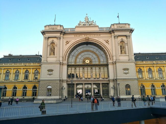 Adult Architecture Budapest Building Exterior Built Structure City Clear Sky Day Façade Hungary Keleti Railway Station Large Group Of People Leisure Activity Low Angle View Men Outdoors People Place Of Worship Real People Sky Travel Travel Destinations Women