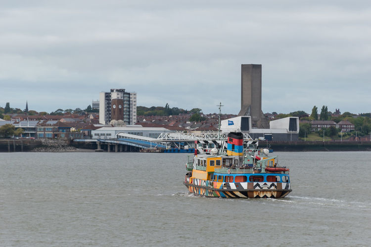 Mersey Ferry Ferry Across The Mersey Mersey Ferry Colourful Painted Liverpool River Mersey Architecture Architecture_collection Icon Iconic Pattern Bright Colors Boat Ship River Riverboat Transportation Mode Of Transportation Cloud - Sky Nautical Vessel Travel Outdoors Day Sky City