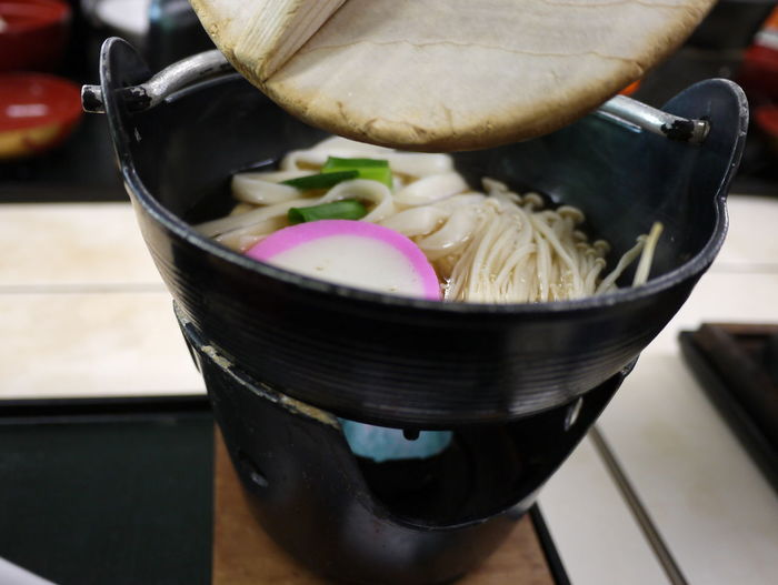 Close-up Delicious Focus On Foreground Food Freshness Japanese Food Metal Bowl Noodles Pink Color Wooden Cover