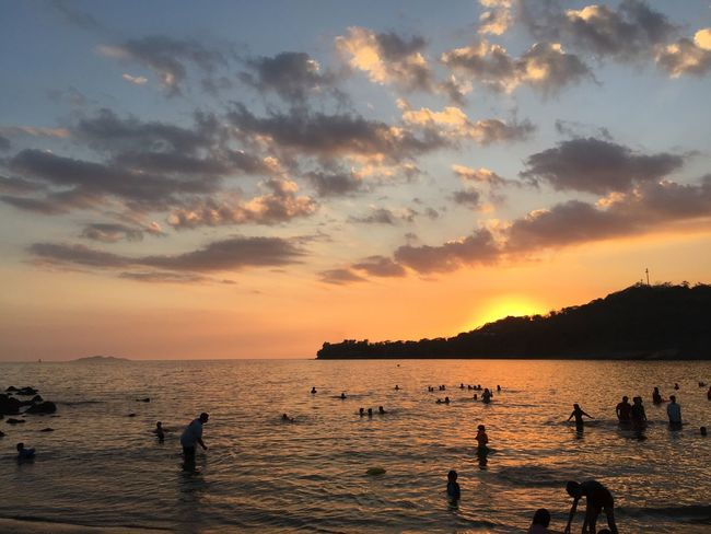 Beautiful Sunset of Batangas Philippines - One of my favorite subject 😍 #Iphoneography Sky Water Sunset Sea Cloud - Sky Beauty In Nature Silhouette Beach Scenics - Nature Nature Group Of People Real People Tranquil Scene Tranquility Orange Color Land Lifestyles Horizon Over Water Outdoors Horizon