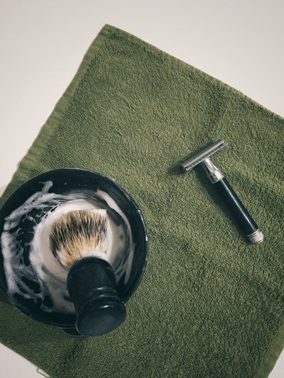 shaving time Indoors  No People Close-up Razor Shaving Equipment Shavingtime Shaving Foam Shaving Brush Shaving Tools Grooming Table High Angle View Still Life