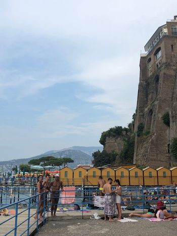 Italians Europe Trip Europe Holiday Destination Summertime Summer Sorrento Italian Holiday Italian Beach Italy Architecture Sky Built Structure Building Exterior Cloud - Sky Group Of People Nature Real People Beach