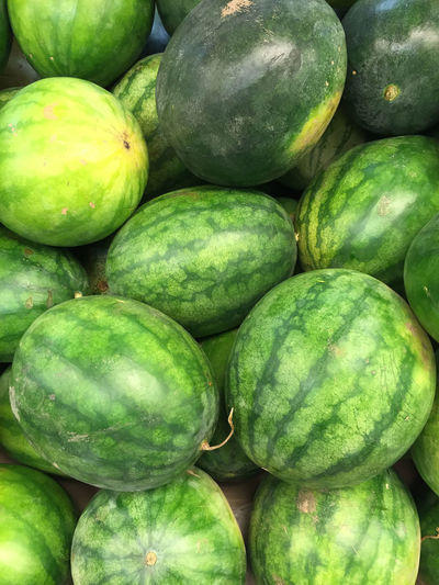 Full frame shot of watermelons at market stall for sale