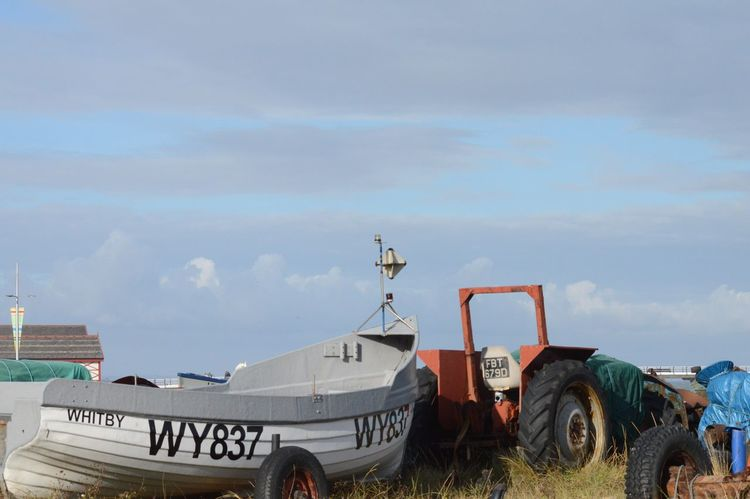 Ready for the sea Transportation Sky Mode Of Transport Cloud - Sky Text Outdoors Day No People Tractor Nature