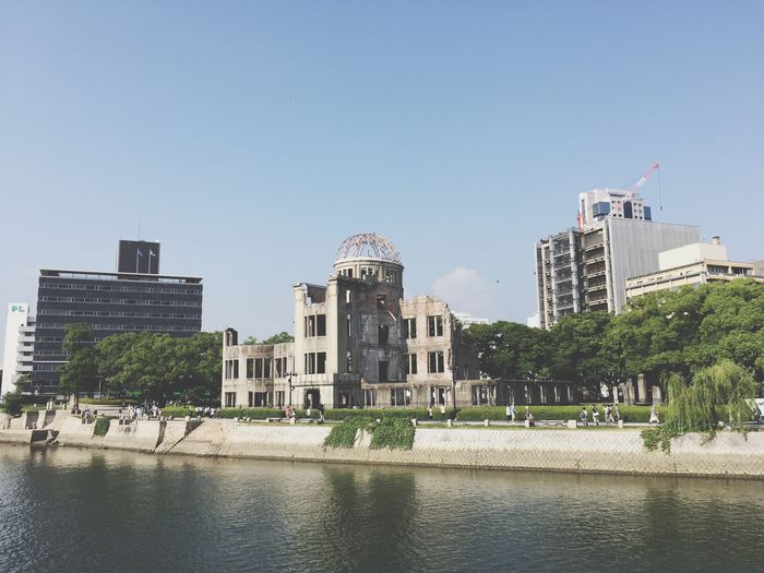 Hiroshima Never Forget Memorial History Japan Hiroshima Atomic Bomb Dome Hiroshima,japan Architecture Built Structure Building Exterior Waterfront Water City Clear Sky Day Tree Outdoors Blue No People Dome Nature Sky Lake