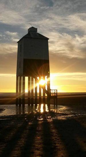 Lifeguard Hut Orange Color Outdoors Sea Sun Sunbeam Sunset Tower