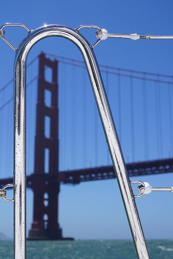 Close-Up Of Boat Railing With Golden Gate Bridge In Background