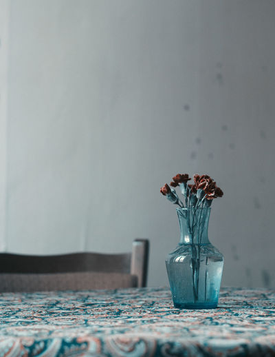 Decoration Depth Of Field Flower Flower Arrangement Home Interior Shootermag Shootermagazine No People Still Life Table Vase Wall Blue Wave