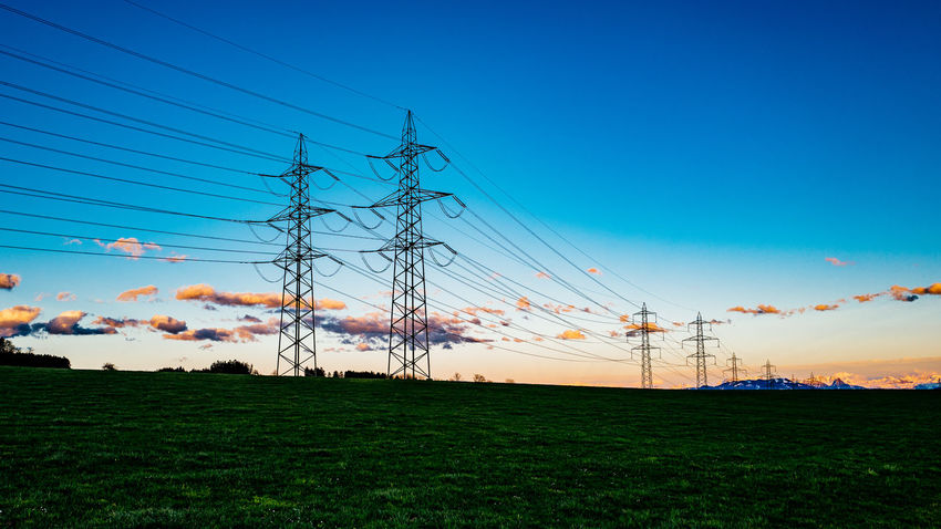 Beauty In Nature Blue Electricity  Electricity Pylon Field Gormund Grass Grassy Growth Idyllic Kapelle Landscape Nature Outdoors Power Line  Power Supply Rural Scene Scenics Sky Sunset Tranquil Scene Tranquility