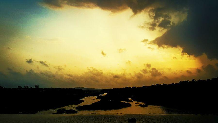 Golden Moments Evening Sky Sunset Nila Bharathapuzha Kerala Serenity Pampady Golden