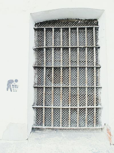 Prison Security Bar Metal Grate Confined Space Grid Cage Steel Close-up Architecture Grate Whitewashed