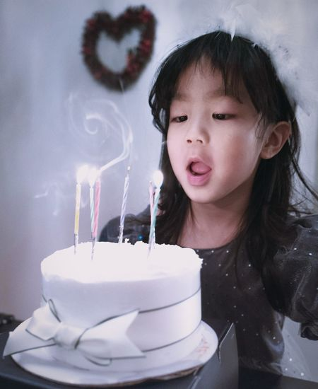 HBD Birthday Real People Blowing One Person Indoors  Childhood Cute Birthday Cake