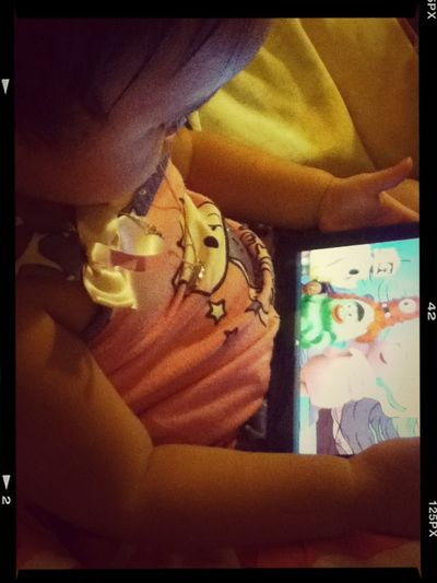 This Gurl is still awake ! Watchin Yo Gabba Gabba ! Lol .