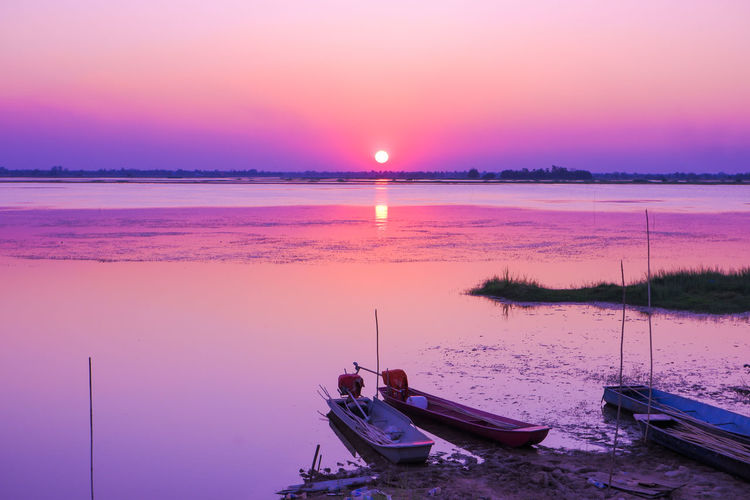 Water Nautical Vessel Sea Sunset Beach Clear Sky Pink Color Purple Reflection Business Finance And Industry