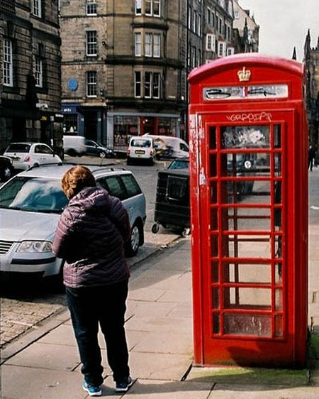 Streetphotography Urbanphotography Phonebooth Scotland Edinburgh 35mmphotography Street Filmphotography Nikon Nikonf3 Nikonphotography #urbanana: The Urban Playground City Pay Phone Full Length Telephone Booth Red City Life Street Cultures Architecture Building Exterior