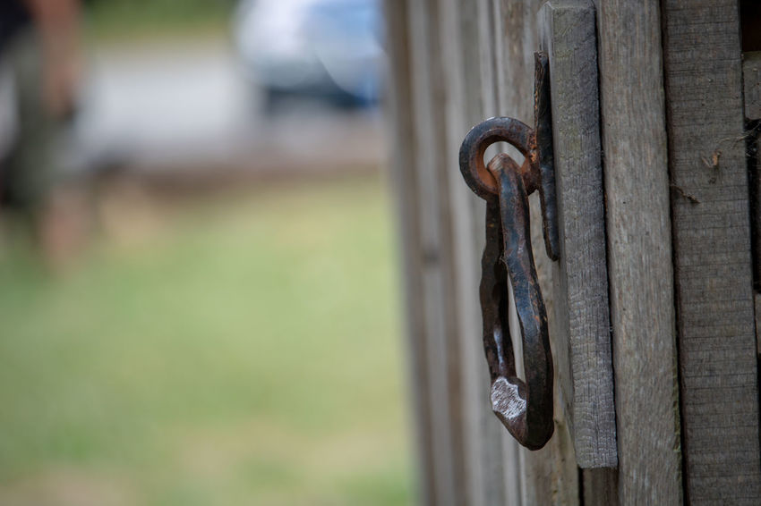 Architecture Chain Close-up Day Door Entrance Focus On Foreground Gate Iron - Metal Lock Metal Nature No People Outdoors Protection Rusty Safety Security Selective Focus Strength Wood - Material