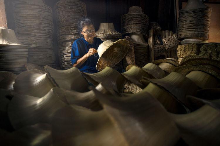 Women makeing local hat thailand