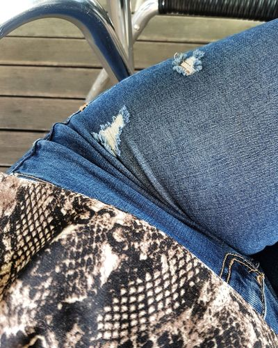 Jeans Low Section Human Leg High Angle View Human Body Part Day Indoors  Close-up One Person Real People People The Week On EyeEm Mobility In Mega Cities Colour Your Horizn