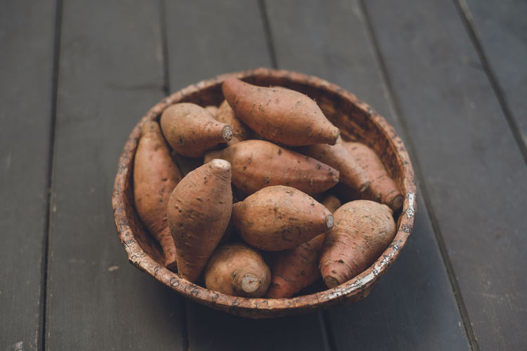 Close-up view of a pile of kagoshima's famous sweet potatoes